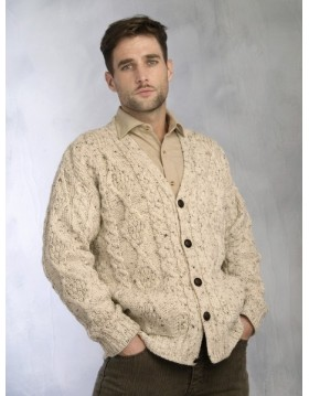 TRADITIONAL MENS V NECK ARAN CARDIGAN FLECK|Aran Cardigans|Irish Handcrafts 1