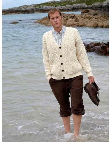 TRADITIONAL MENS V NECK ARAN CARDIGAN XP1437|Aran Cardigans|Irish Handcrafts -1