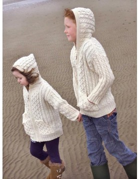 CHILDRENS HOODED ZIP ARAN STYLE CARDIGAN WITH POCKETS|KIDS|Irish Handcrafts 1