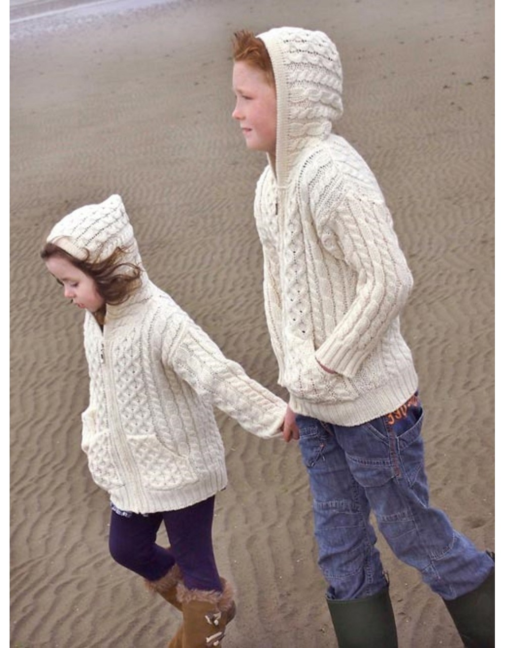 CHILDRENS HOODED ZIP ARAN STYLE CARDIGAN WITH POCKETS|KIDS|Irish Handcrafts 1