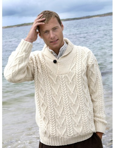 Shawl Collar Mans Traditional Aran Sweater|Aran Sweaters Men|Irish Handcrafts -1