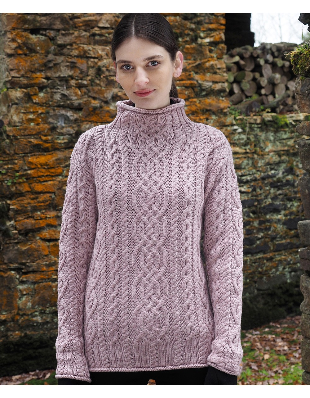 97f279d325 Aran Cable Funnel Neck Sweater