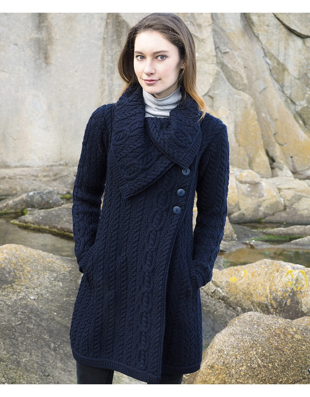 Aran Style Large Collar Coat|Aran Knitwear Specials|Irish Handcrafts -1