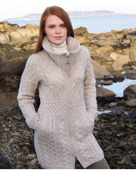 Aran Style Knitted Double Collar Coat|Aran Sweaters|Irish Handcrafts -2