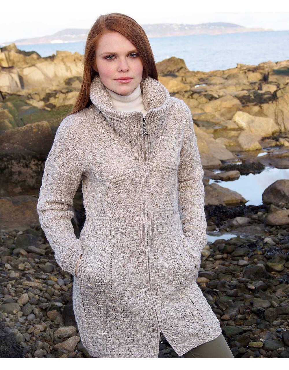 Aran Style Knitted Double Collar Coat|Aran Sweaters|Irish Handcrafts -2
