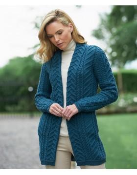 Aran Pattern Knitted Edge to Edge Coat Irish Sweater Coat Irish Handcrafts -1