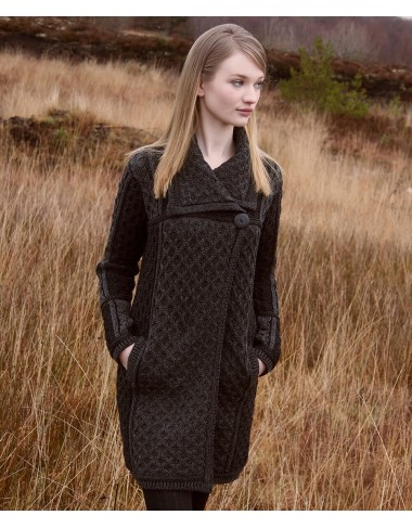 SINGLE BUTTON ARAN STYLE PLATED COAT|Aran Sweaters|Irish Handcrafts 1