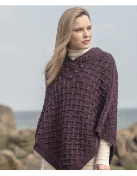 Aran Cable Lattice Poncho Capes Wraps & Pocket Shawls Irish Handcrafts -1