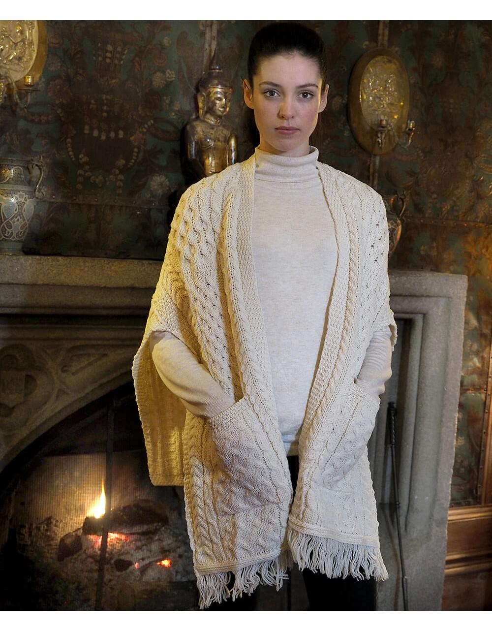 Irish Cable Pattern Pocket Shawl Irish wool shawl Irish Handcrafts -1