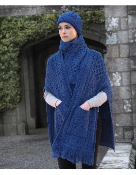 Irish Cable Pattern Pocket Shawl Irish wool shawl Irish Handcrafts -1