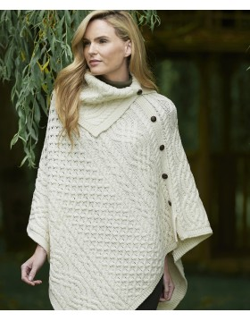 Aran Patterned Cowl Neck Poncho Irish Ponchos & Capes Irish Handcrafts -1