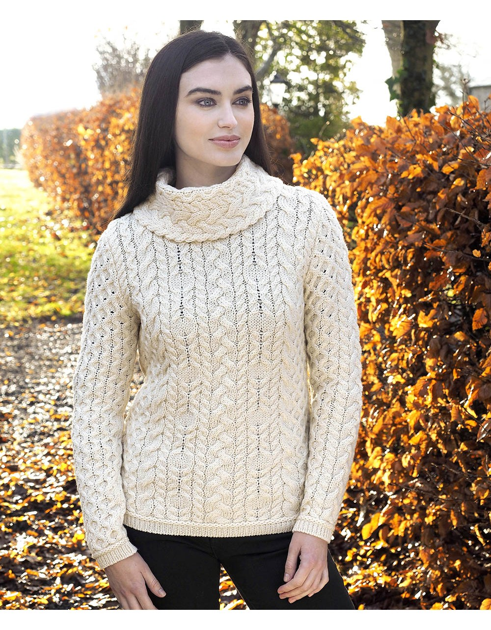 Cable Cowl Neck Sweater Womens Irish Sweater Irish Handcrafts -1