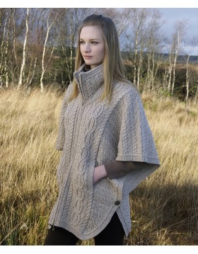 Aran Funnel Neck Poncho Jacket Capes Wraps & Pocket Shawls Irish Handcrafts -1