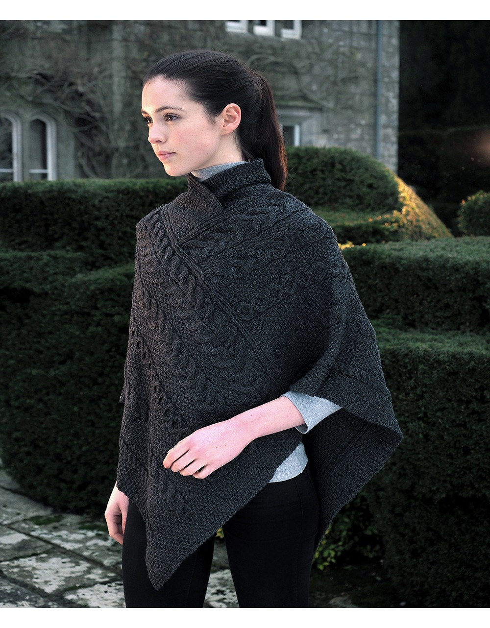 Aran Pattern Poncho Cape Aran Sweaters Irish Handcrafts -1