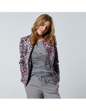 Barbara Lebek Animal Print Zipped Jacket -1