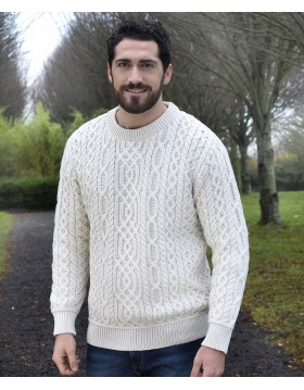 Aran Style Crew Neck Sweater|Aran Sweaters Men|Irish Handcrafts -1
