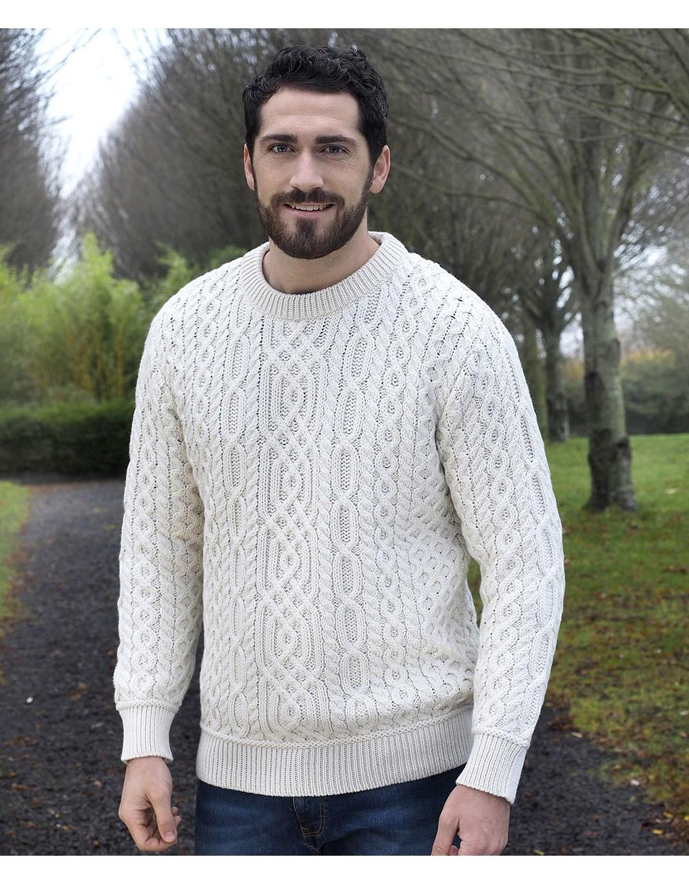 Aran Style Crew Neck Sweater|Aran Sweaters Men|Irish Handcrafts -1