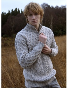 Half Zip Aran Sweater|Aran Sweaters Men|Irish Handcrafts -1