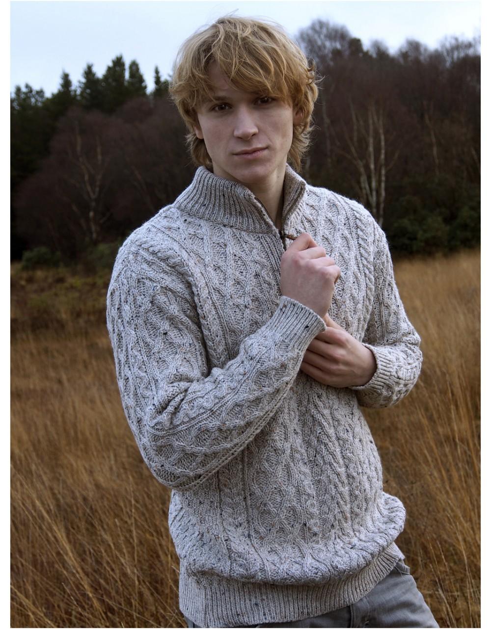 Half Zip Aran Sweater|Aran Sweaters Men|Irish Handcrafts -1