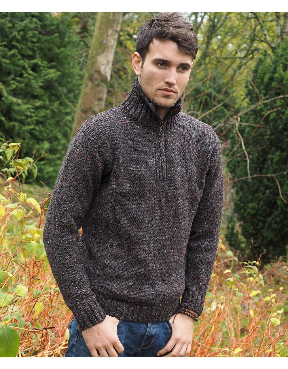 Donegal Yarn Half Zip Sweater Aran Sweaters Men Irish Handcrafts -1