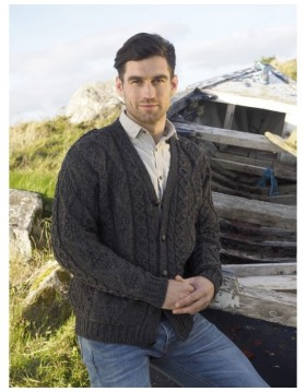 Mans V Neck Aran Cardigan in Charcoal|Aran Sweaters Men|Irish Handcrafts