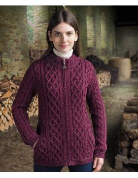 Aran Long Zipped Cardigan|Aran Cardigans|Irish Handcrafts -1