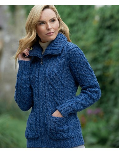 ARAN DOUBLE COLLAR ZIPPER JACKET |Aran Cardigans|Irish Handcrafts -1