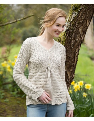 Aran Patterned Linen Cotton V Neck Cardigan|Aran Cardigans|Irish Handcrafts 1