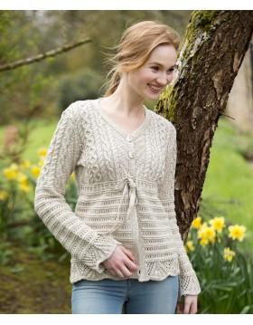 Aran Patterned Linen Cotton V Neck Cardigan|Aran Cardigans|Irish Handcrafts 1