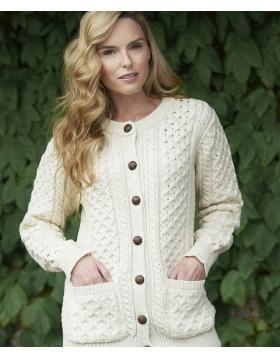 Traditional Irish Buttoned Knitted Aran Cardigan|Aran Cardigans|Irish Handcrafts 1