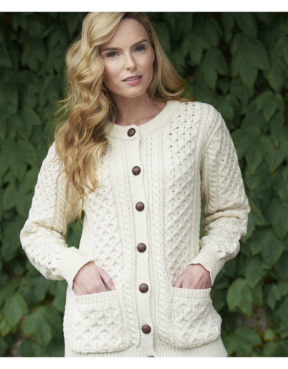 Traditional Irish Buttoned Knitted Aran Cardigan Aran Cardigans Irish Handcrafts 1