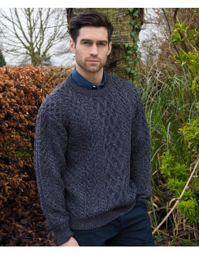 Heavy Crew Neck Aran Sweater|Aran Sweaters Men|Irish Handcrafts 1