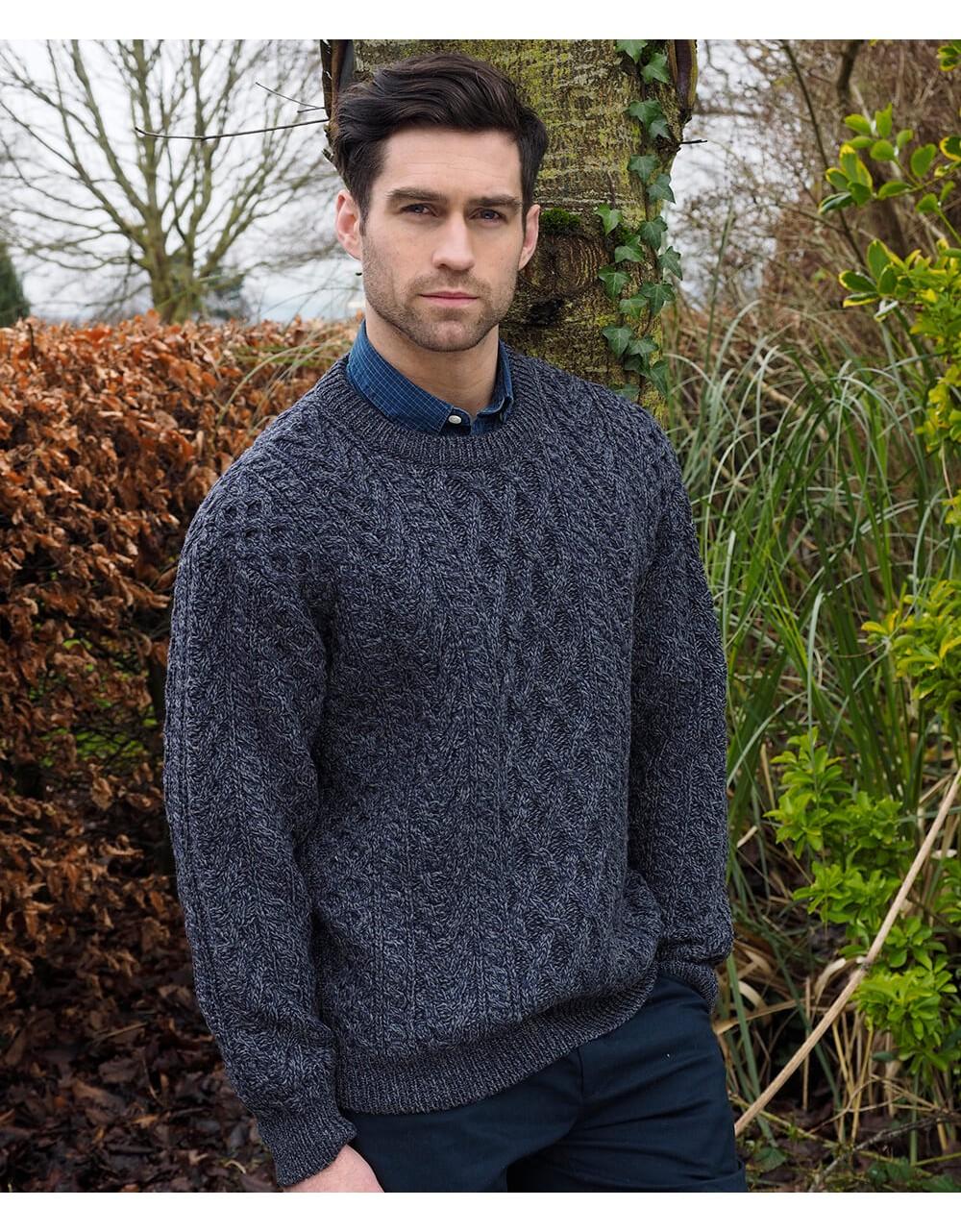 Heavy Crew Neck Aran Sweater|Aran Sweaters Men|Irish Handcrafts 1