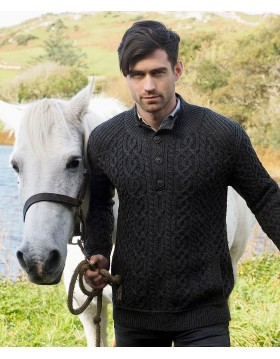 Saddle Shoulder 4 Button Aran Sweater|Aran Knitwear Specials|Irish Handcrafts