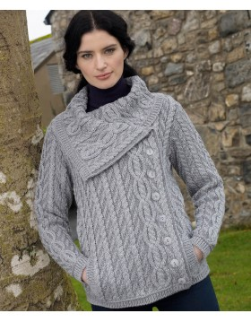 Large Collar Plated Cable Knit Jacket|Aran Cardigans|Irish Handcrafts -2