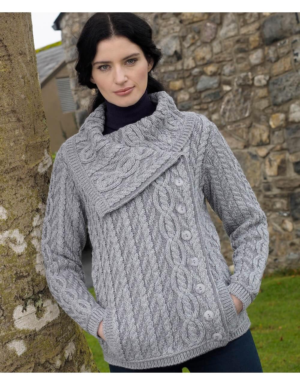 Large Collar Plated Cable Knit Jacket|Aran Cardigans|Irish Handcrafts -2