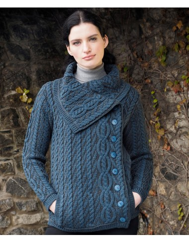 Large Collar Plated Cable Knit Jacket|Aran Cardigans|Irish Handcrafts -1