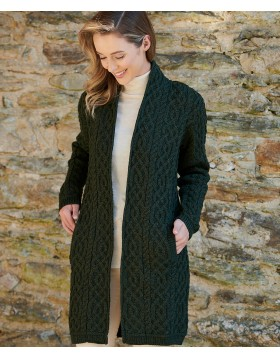 Aran Knit Edge To Edge Coat With Celtic Braid|Aran Cardigans|Irish Handcrafts -1