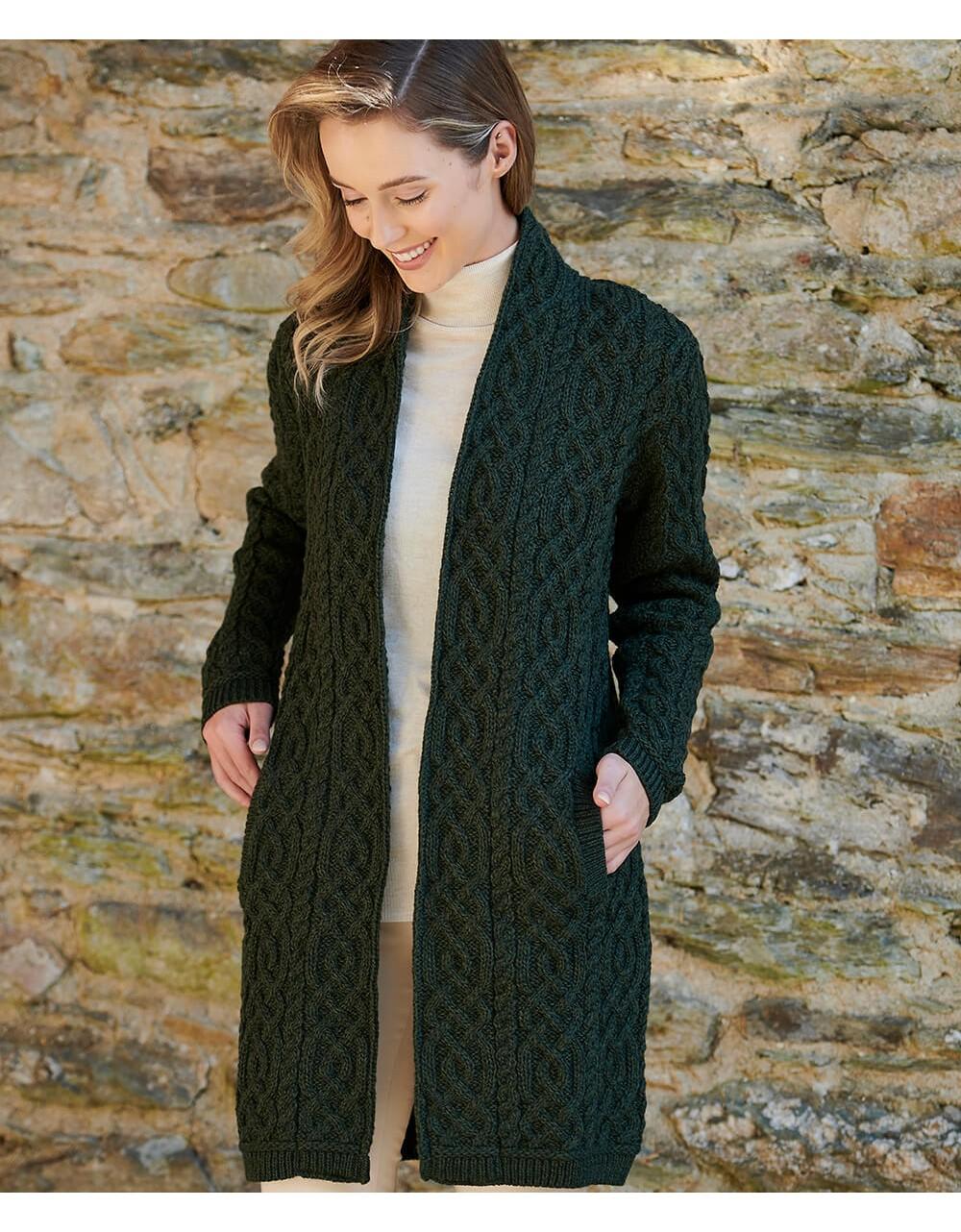 Aran Knit Edge To Edge Coat With Celtic Braid|Aran Cardigans|Irish Handcrafts -1