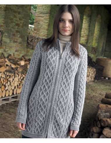 Plated Sweater Coat In Aran Style|Aran Sweaters|Irish Handcrafts -1