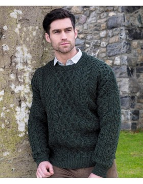 Sweater Aran Fisherman Crew Neck|Aran Sweaters Men|Irish Handcrafts