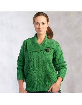 One Button Aran Cardigan in Green|Aran Cardigans|Irish Handcrafts