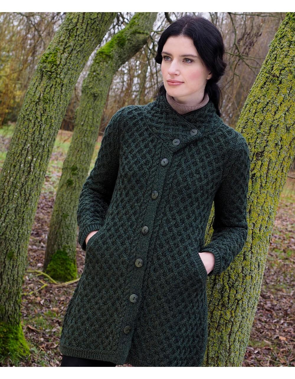 Aran Coatigan With Cross Over Collar|Aran Sweaters|Irish Handcrafts