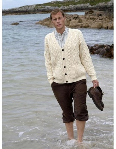 V Neck Aran Cardigan|Aran Cardigans Men|Irish Handcrafts