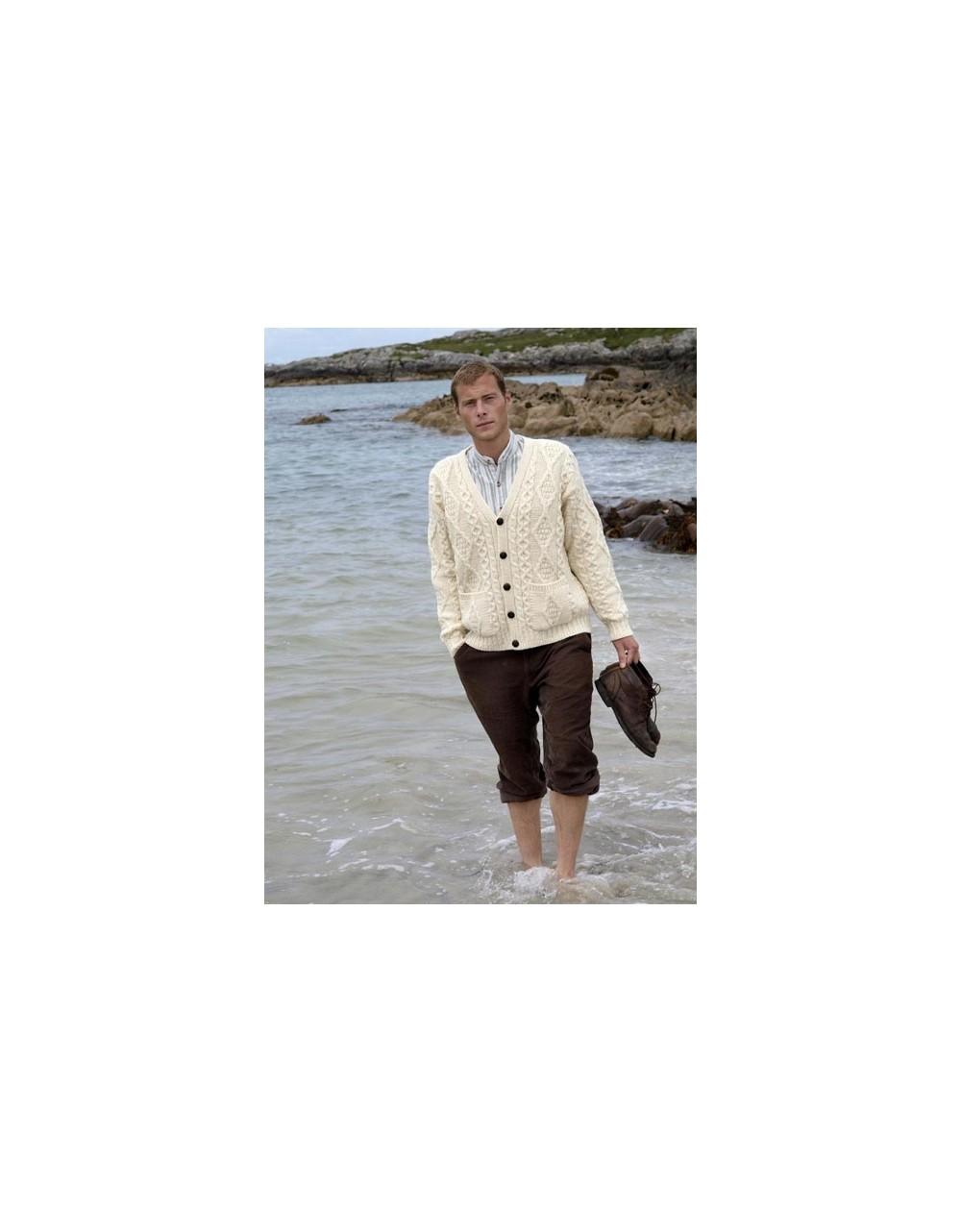 V Neck Aran Cardigan|Aran Cardigans Men|Irish Handcrafts