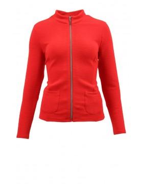 Lebek Zipped Textured Jacket red Barbara Lebek Clothing Irish Handcrafts