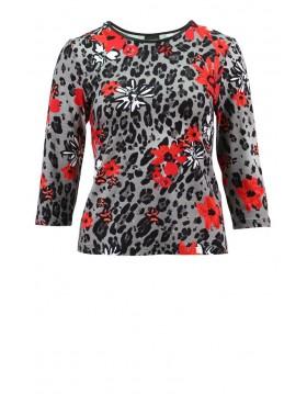 Lebek Red and Grey Print Top Barbara Lebek Clothing Irish Handcrafts