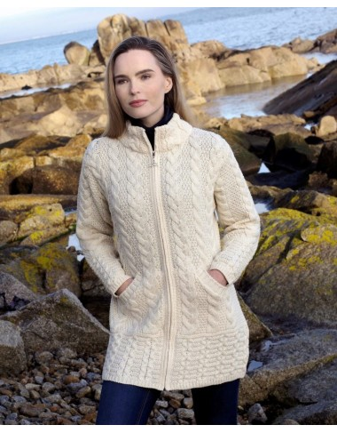 Three Quarter Length Aran Coat|Aran Knitwear Coats|Irish Handcrafts 1