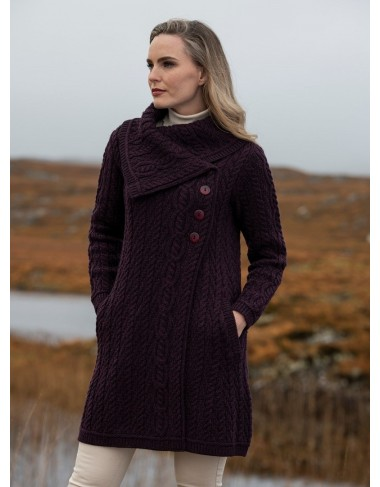 Aran Style Large Collar Coat Damson|Aran Knitwear Coats|Irish Handcrafts