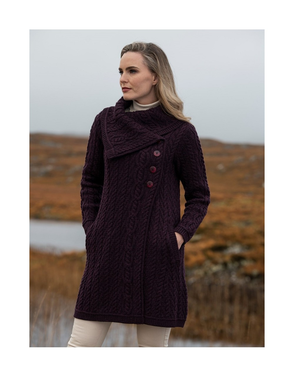 Aran Style Large Collar Coat Damson|Aran Knitwear Coats|Irish Handcrafts